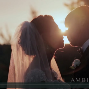The Aerie at Eagle Landing wedding videography couple kissing at sunset.