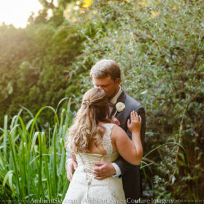 Portland wedding photo bride and groom in garden