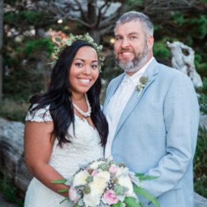 Manzanita beach wedding photography bride and groom portrait smiling