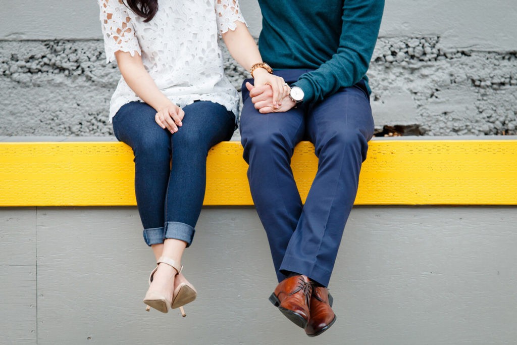 Portland Engagement Photo couple sitting legs and shoes