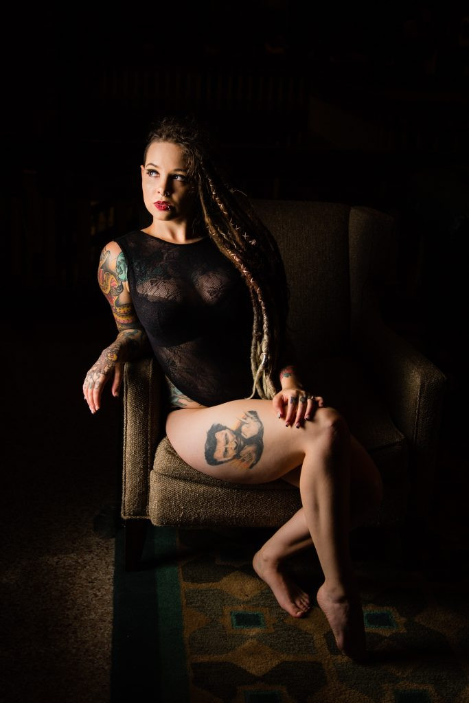 Portland Boudoir Photography Black Lingerie and tattoos