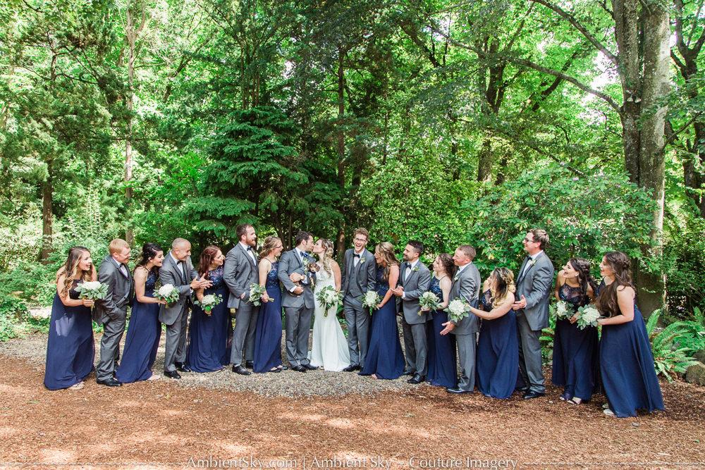 Huge Wedding Party laughing portland garden wedding at Gray Gables Estate